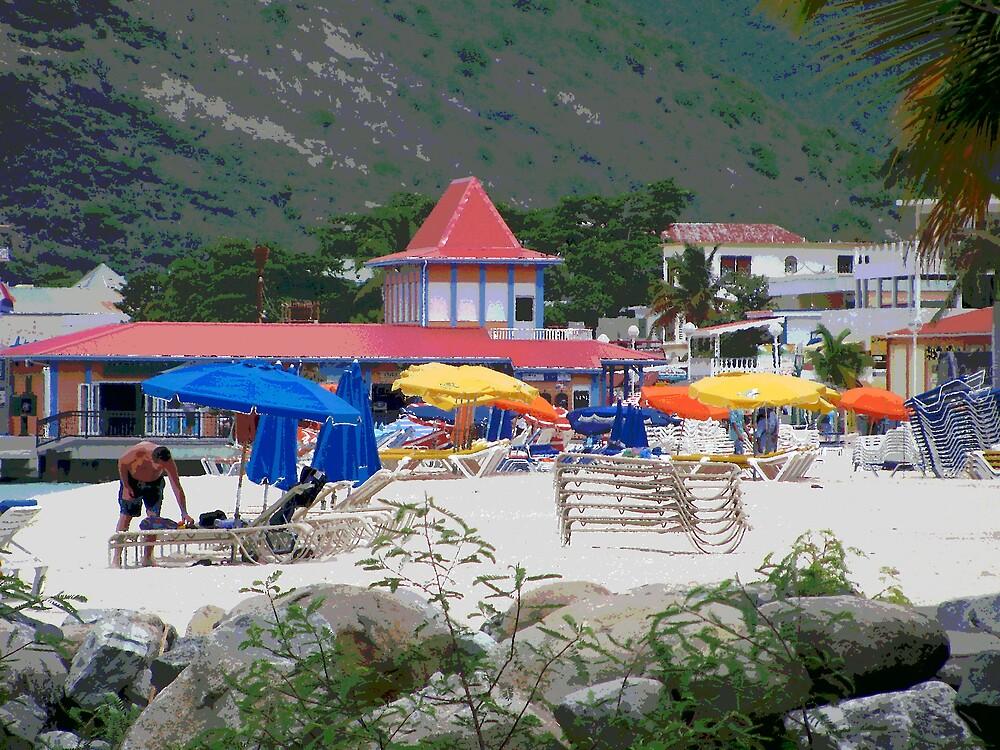 Painted Colorful Beach Scene by deegarra