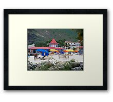 Painted Colorful Beach Scene Framed Print