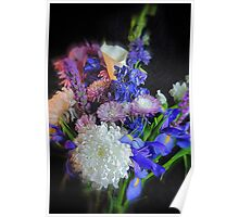Blue Purple White Flower Bouquet Poster