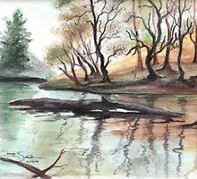Lanty's Tarn Watercolor    by Sandy Sparks