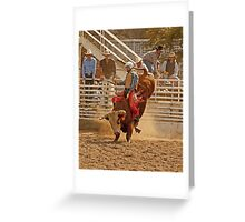 Rodeo Cowboy Riding a Bull Greeting Card