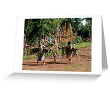 Girls carrying suggarcane Greeting Card