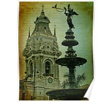 Fountain and Cathedral. Plaza de Armas. Lima. Peru Poster