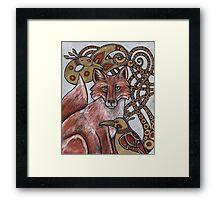 Red Fox, Gold Birds Framed Print