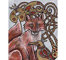 Red Fox, Gold Birds Photographic Print