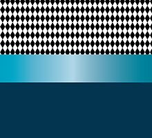 Design of black and white diamonds with blue ribbon. by shoppy76