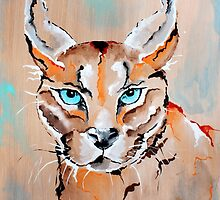 Desert Lynx - Animal Art by Valentina Miletic by Valentina Miletic