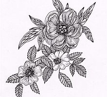 Peony and Dog Rose by THEFLORALFOX