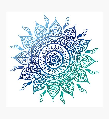 Blue Gradient Mandala  Photographic Print