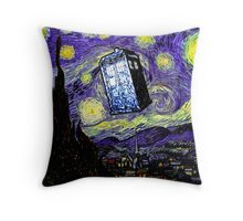 The Tardis in the Starry Night Throw Pillow