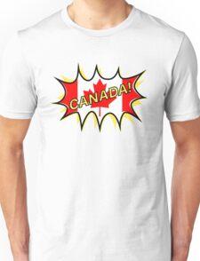 Canadian Flag Comic Style Starburst Unisex T-Shirt