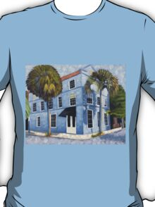 Blue House, architecture, oil painting by Velma Serrano  T-Shirt