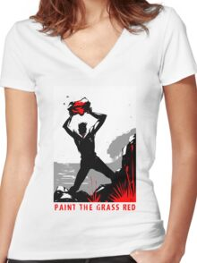 Paint the Grass Red... Women's Fitted V-Neck T-Shirt