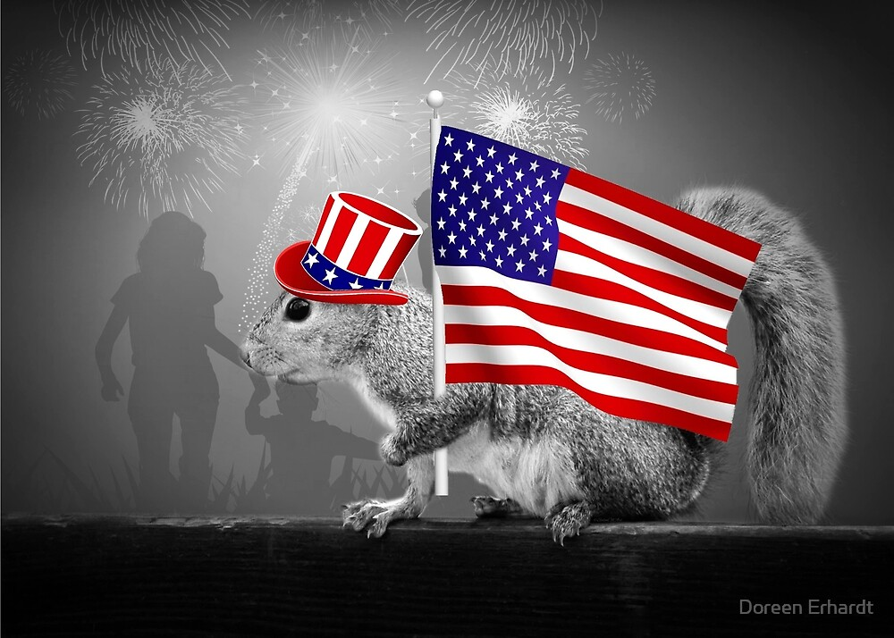 Armed with American Pride - Squirrel by Doreen Erhardt