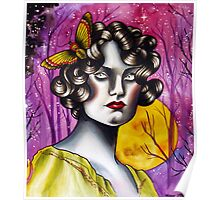 Neotraditional Tattoo Flapper Girl  Poster