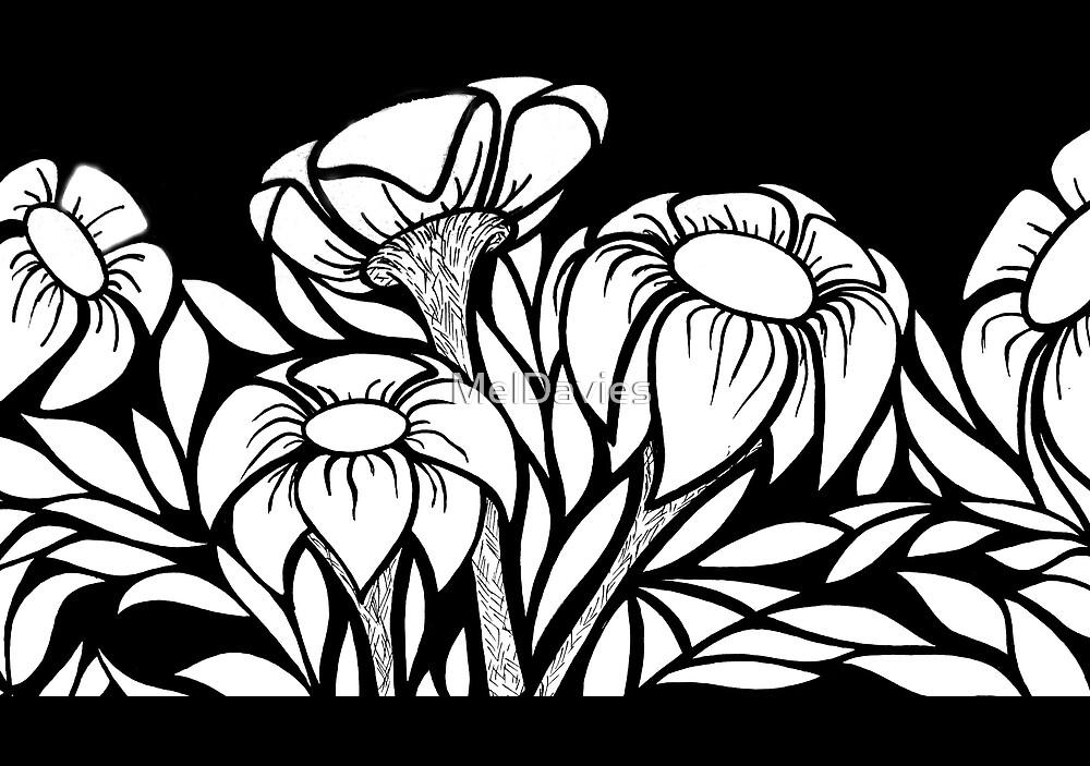 B&W Floral #1 by MelDavies