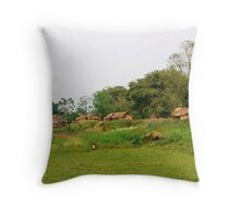 Mising tribe village, Assam, India Throw Pillow