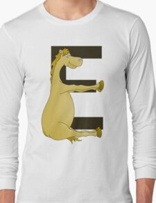 Pony Monogram Letter E Long Sleeve T-Shirt