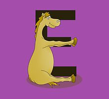 Pony Monogram Letter E by piedaydesigns