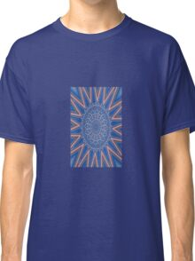 Blue Red and White Kaleidoscope Pattern Classic T-Shirt
