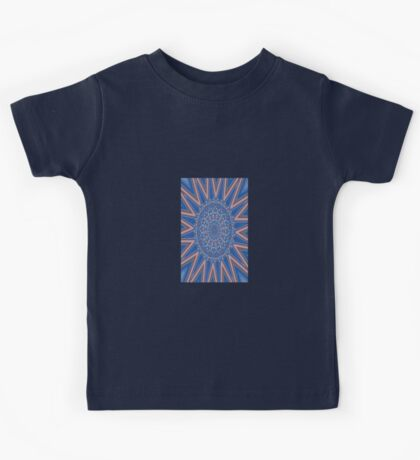 Blue Red and White Kaleidoscope Pattern Kids Tee