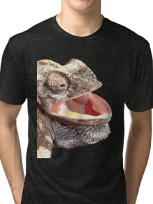 Chameleon with Happy Smiling Expression Vector Tri-blend T-Shirt
