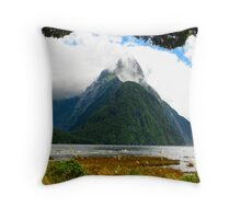 Mitre Peak at Milford Sound Throw Pillow