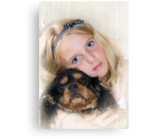 Me and my dog Boots Canvas Print