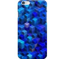 Blue stacked 3D cubes abstract geometric pattern iPhone Case/Skin