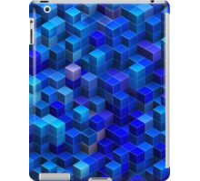 Blue stacked 3D cubes abstract geometric pattern iPad Case/Skin