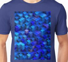 Blue stacked 3D cubes abstract geometric pattern Unisex T-Shirt