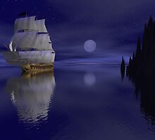 Sailing By Moonlight by David  Humphrey
