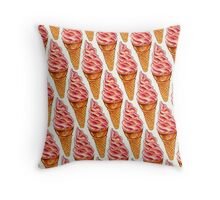 Strawberry Soft Serve Pattern Throw Pillow
