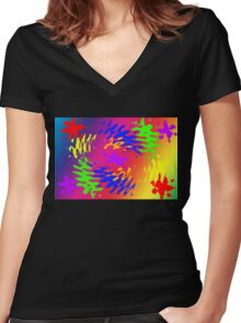 Psychedelic Splodge Women's Fitted V-Neck T-Shirt