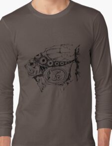Hands painted portrait  magic fish with a kitten inside Long Sleeve T-Shirt
