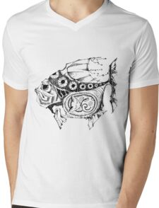 Hands painted portrait  magic fish with a kitten inside Mens V-Neck T-Shirt
