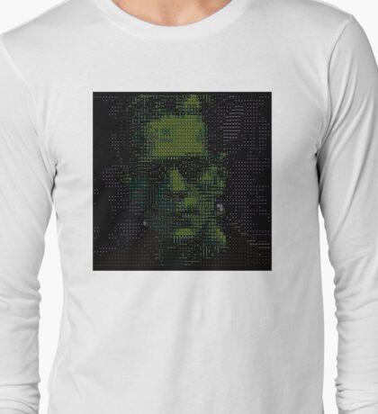 ascii frankenstein on black Long Sleeve T-Shirt