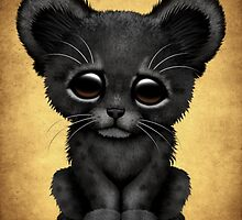 Cute Baby Black Panther Cub on Brown by Jeff Bartels