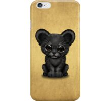 Cute Baby Black Panther Cub on Brown iPhone Case/Skin