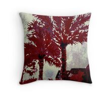 palm trees modern art acrylic painting Throw Pillow