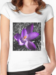 Purple Flower Women's Fitted Scoop T-Shirt