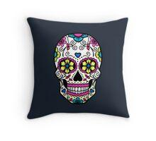 Purple Sugar Skull Throw Pillow