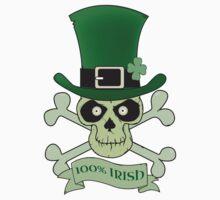 100% Irish.Green lucky irish skull Kids Clothes