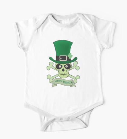 100% Irish.Green lucky irish skull One Piece - Short Sleeve
