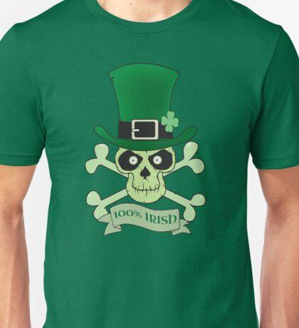 100% Irish.Green lucky irish skull Unisex T-Shirt