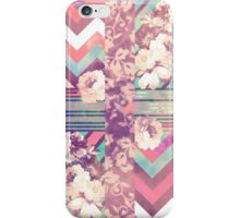 Retro Pink turquoise Floral Stripe Chevron Pattern iPhone Case/Skin