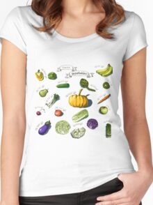 illustration of a set of hand-painted vegetables, fruits Women's Fitted Scoop T-Shirt