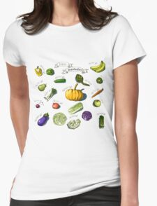 illustration of a set of hand-painted vegetables, fruits Womens Fitted T-Shirt