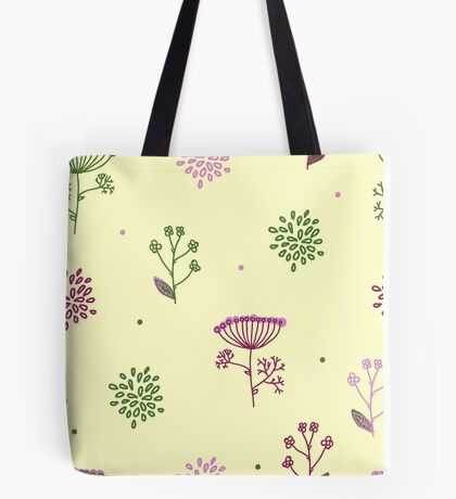 Elegance Seamless pattern with flowers, vector floral illustration in vintage style, Ukraine, dill Tote Bag