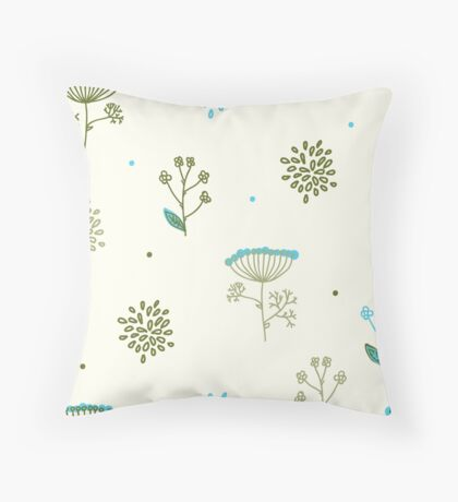 Elegance Seamless pattern with flowers, vector floral illustration in vintage style, Ukraine, dill Throw Pillow